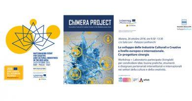 """Industria culturale e creativa, a Matera e Bari serie di eventi per Progetto interregionale UE """"ChiMERA"""" 24-26 ottobre 2018"""