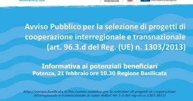 Avviso Pubblico per la selezione di progetti di cooperazione interregionale e transnazionale (ai sensi dell'art. 96.3.d del Reg. UE n. 1303/2013) – Informativa ai potenziali beneficiari